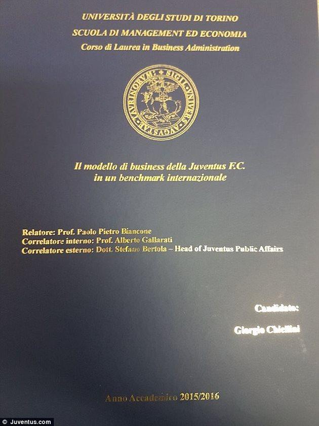 Кьеллини получил магистерскую степень в университете Турина  Диссертация Кьеллини фото фк ювентус