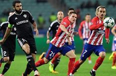 Рашад Садыхов в матче против Атлетико, UEFA.com