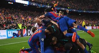 Барселона празднует победу над ПСЖ, Getty Images