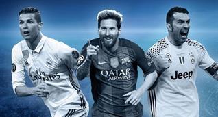 Криштиану Роналду, Лионель Месси и Джанлуиджи Буффон, UEFA.com