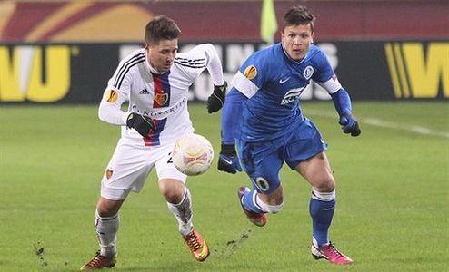 Коноплянка в игре против Базеля, фото Football.ua