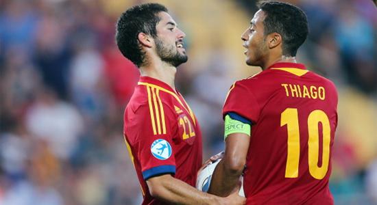 Иско и Тиаго Алькантара в финале Евро-2013, Getty Images