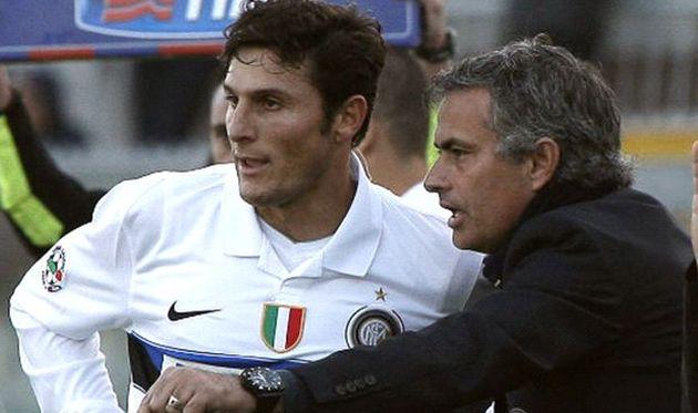 Хавьер Дзанетти и Жозе Моуриньо, фото goal.com