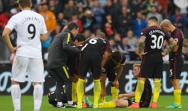 Один излидеров «Манчестер Сити» деБрейне выбыл намесяц из-за травмы