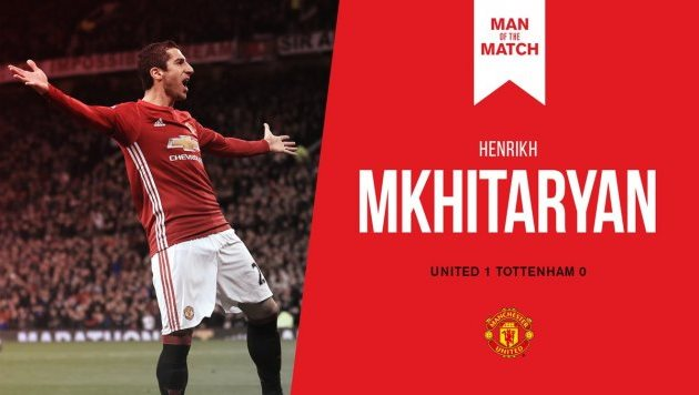 Гол Мхитаряна принес «Манчестер Юнайтед» победу над «Тоттенхэмом» вчемпионате Британии