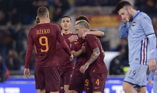 «Рома» одолела «Сампдорию» ивышла в ¼ финала Кубка Италии пофутболу