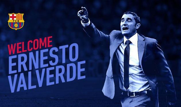 «Барселона» объявила оназначении Вальверде напост основного тренера команды