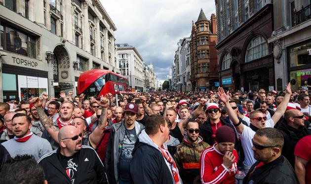 Немцы устроили беспорядки встолице Англии перед матчем Лиги Европы