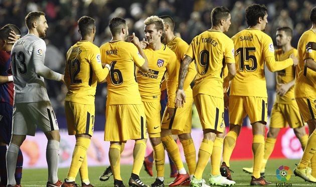«Атлетико» отправил 5 безответных мячей вворота «Леванте»