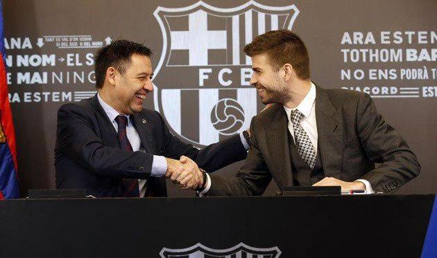 «Барселона» объявила опродлении договора сзащитником Жераром Пике до 2022