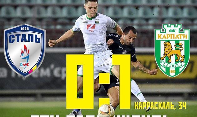 Сталь — Карпаты 0:1 Видео гола и обзор матча