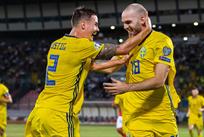 Швеция празднует победу, svenskfotboll.se