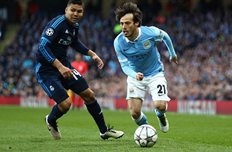 Давид Силва в игре против Реала, Getty Images
