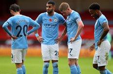 Игроки Манчестер Сити в матче против Шеффилд Юнайтед, Getty Images