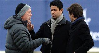 Анчелотти, Эль Хелаифи и Леонардо, фото AFP