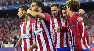 Игроки Атлетико празднуют гол в ворота Баварии, uefa.com