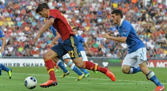 Альваро Мората в финале против Италии. Фото Sportsfile