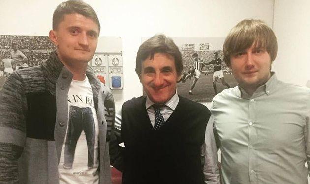 Василий Прийма (слева) вместе с президентом Торино Урбано Каиро (по центру) и своим агентом, Facebook