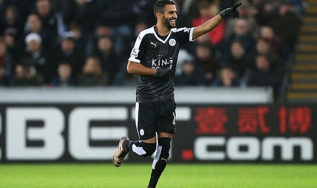 Рияд Марез трижды поразил ворота Суонси, Getty Images