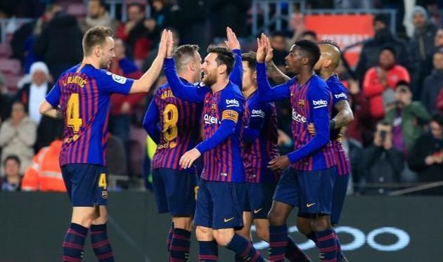 the joy of Barcelona players, laliga.es