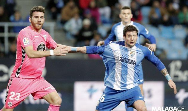 Seleznev in a match with Lugo, Málaga
