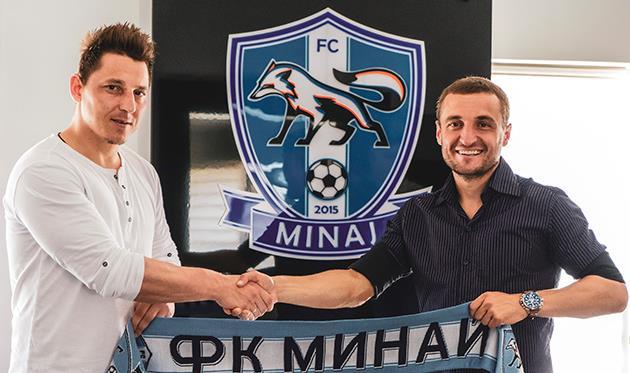 Василий Кобин (слева) и спортивный директор Миная Михаил Кополовец, fcminaj.com