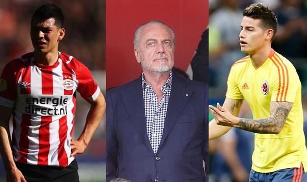 Лосано, Де Лаурентис, Хамес; Football.ua/Getty Images