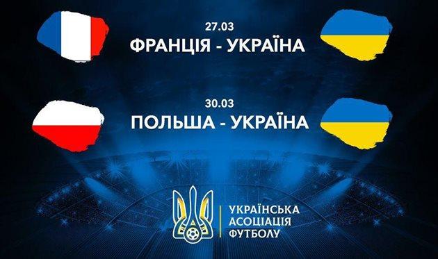 Украина сыграет против Франции и Польши в рамках подготовки к Евро-2020