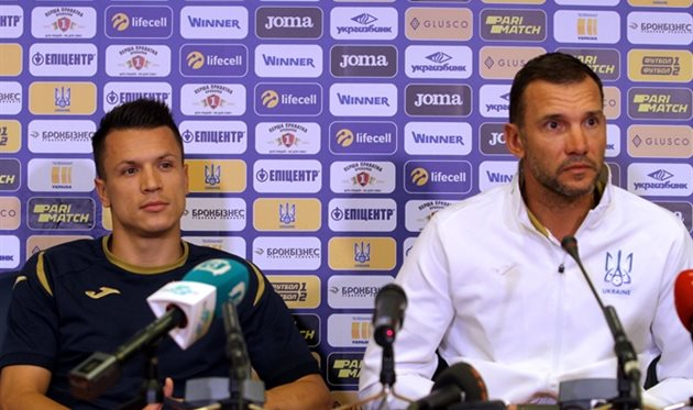 Евгений Коноплянка и Андрей Шевченко, фото УАФ
