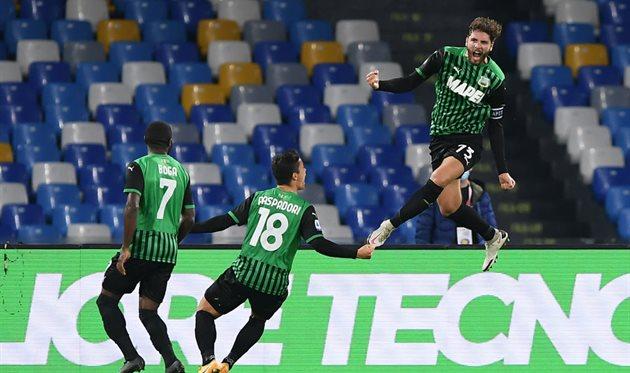 Футболисты Сассуоло после гола в ворота Наполи, Getty Images