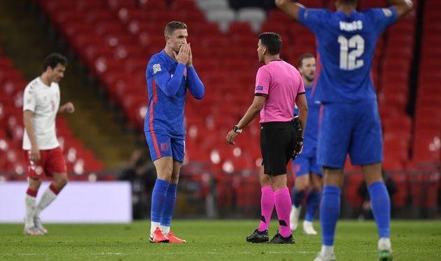 Джордан Хендерсон в матче против Дании, Getty Images