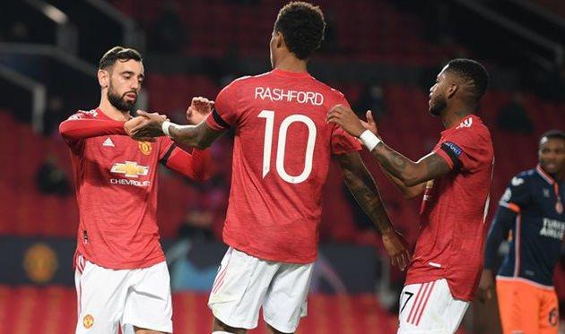 Празднование забитого мяча игроками Манчестер Юнайтед, Getty Images