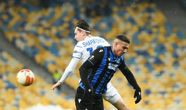 Николай Шапаренко в матче с Брюгге, ФК Динамо Киев