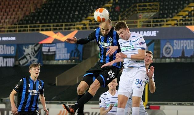 Динамо лишь единожды пробило по воротам Брюгге за первый тайм