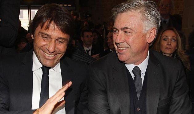 Антонио Конте (слева) и Карло Анчелотти, getty images