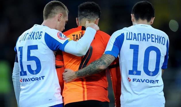 Виктор Цыганков (слева), Тайсон (по центру) и Николай Шапаренко, ФК Шахтер