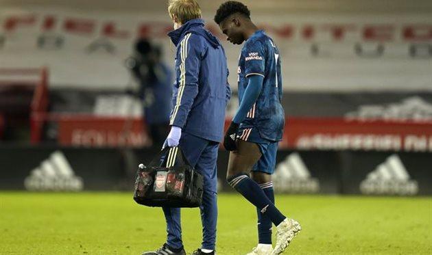 Травма Букайо Сака в матче против Шеффилд Юнайтед, Getty Images