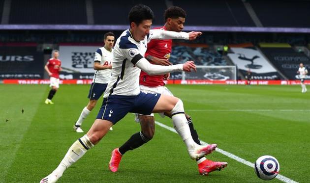 Сон Хын Мин в матче против Манчестер Юнайтед, Getty Images