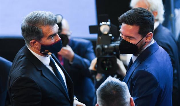 Жоан Лапорта и Лионель Месси, Getty Images