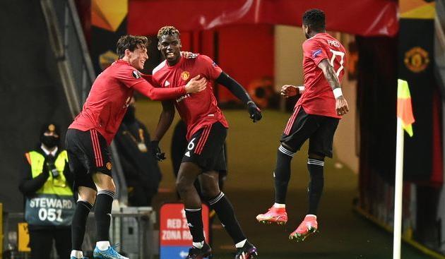 Празднование гола Погба игроками Манчестер Юнайтед, Getty Images