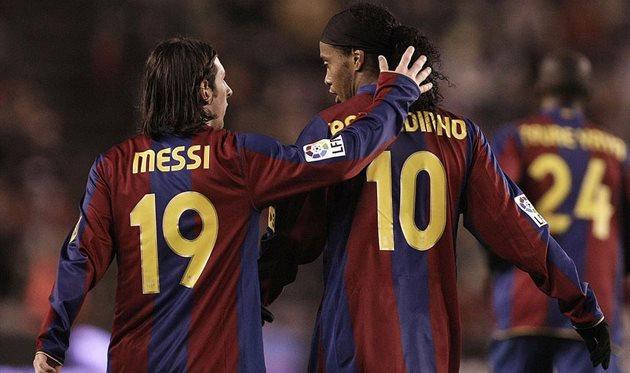 Роналдиньо и Месси. Фото Getty Images