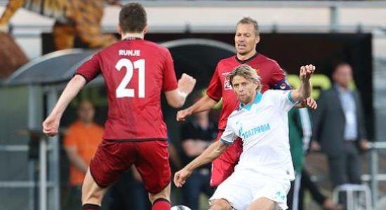 Тимощук в игре против Нордшелланда, фото fc-zenit.ru
