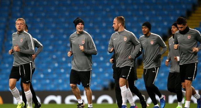 Монако на тренировке перед матчем с Сити, Getty Images