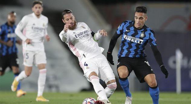 Серхио Рамос (слева) в матче против Интера, Getty Images